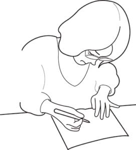 書く女性のイラスト