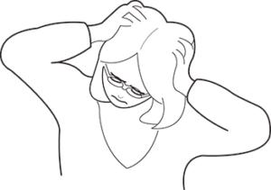 頭を抱える女性のイラスト