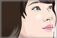 右を向いた女性のイラスト